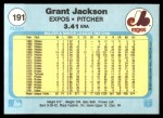1982 Fleer #191  Grant Jackson  Back Thumbnail