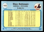 1982 Fleer #183  Stan Bahnsen  Back Thumbnail