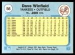 1982 Fleer #56  Dave Winfield  Back Thumbnail