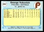 1982 Fleer #262  George Vukovich  Back Thumbnail