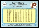 1982 Fleer #241  Larry Bowa  Back Thumbnail