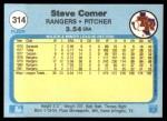 1982 Fleer #314  Steve Comer  Back Thumbnail