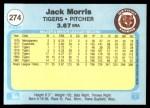 1982 Fleer #274  Jack Morris  Back Thumbnail