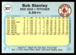 1982 Fleer #307  Bob Stanley  Back Thumbnail