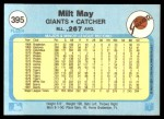 1982 Fleer #395  Milt May  Back Thumbnail