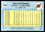 1982 Fleer #388  Darrell Evans  Back Thumbnail