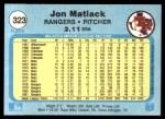 1982 Fleer #323  Jon Matlack  Back Thumbnail