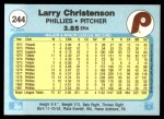 1982 Fleer #244  Larry Christenson  Back Thumbnail