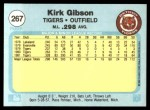 1982 Fleer #267  Kirk Gibson  Back Thumbnail