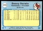 1982 Fleer #315  Danny Darwin  Back Thumbnail