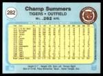 1982 Fleer #282  Champ Summers  Back Thumbnail