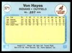 1982 Fleer #371  Von Hayes  Back Thumbnail