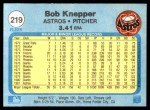 1982 Fleer #219  Bob Knepper  Back Thumbnail