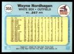 1982 Fleer #355  Wayne Nordhagen  Back Thumbnail