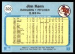 1982 Fleer #322  Jim Kern  Back Thumbnail