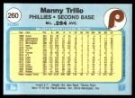 1982 Fleer #260  Manny Trillo  Back Thumbnail