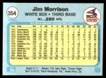 1982 Fleer #354  Jim Morrison  Back Thumbnail