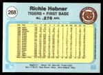 1982 Fleer #268  Richie Hebner  Back Thumbnail
