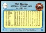 1982 Fleer #216  Phil Garner  Back Thumbnail