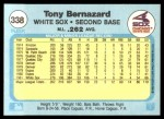 1982 Fleer #338  Tony Bernazard  Back Thumbnail