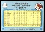 1982 Fleer #317  Johnny Grubb  Back Thumbnail