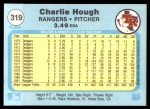 1982 Fleer #319  Charlie Hough  Back Thumbnail