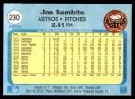 1982 Fleer #230  Joe Sambito  Back Thumbnail