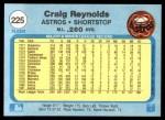 1982 Fleer #225  Craig Reynolds  Back Thumbnail