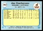 1982 Fleer #362  Joe Charboneau  Back Thumbnail