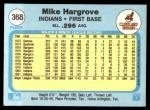 1982 Fleer #368  Mike Hargrove  Back Thumbnail