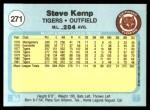 1982 Fleer #271  Steve Kemp  Back Thumbnail