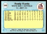 1982 Fleer #348  Rusty Kuntz  Back Thumbnail