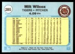 1982 Fleer #285  Milt Wilcox  Back Thumbnail