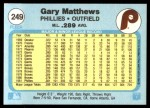 1982 Fleer #249  Gary Matthews  Back Thumbnail