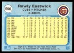1982 Fleer #596  Rawly Eastwick  Back Thumbnail