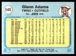 1982 Fleer #545  Glenn Adams  Back Thumbnail
