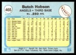 1982 Fleer #465  Butch Hobson  Back Thumbnail