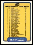 1982 Fleer #647   Yankees / Dodgers Checklist Front Thumbnail