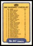 1982 Fleer #647   Yankees / Dodgers Checklist Back Thumbnail