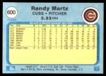 1982 Fleer #600  Randy Martz  Back Thumbnail