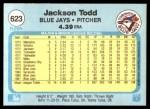 1982 Fleer #623  Jackson Todd  Back Thumbnail