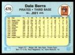 1982 Fleer #476  Dale Berra  Back Thumbnail