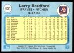 1982 Fleer #431  Larry Bradford  Back Thumbnail