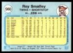 1982 Fleer #560  Roy Smalley  Back Thumbnail