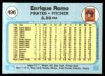 1982 Fleer #496  Enrique Romo  Back Thumbnail