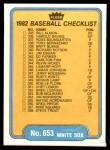 1982 Fleer #653   Rangers / White Sox Checklist Back Thumbnail