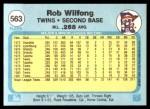 1982 Fleer #563  Rob Wilfong  Back Thumbnail