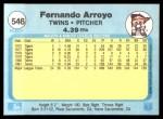 1982 Fleer #546  Fernando Arroyo  Back Thumbnail