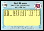 1982 Fleer #436  Bob Horner  Back Thumbnail