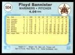 1982 Fleer #504  Floyd Bannister  Back Thumbnail